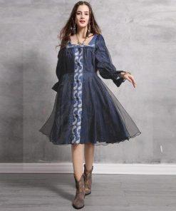 Hippie chic Kleid navy blau